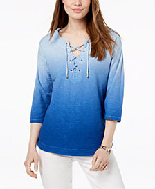 Tommy Hilfiger Cotton Ombré Lace-Up Top, Created for Macy's