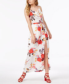 Material Girl Juniors' Printed Cowl-Neck Maxi Dress, Created for Macy's
