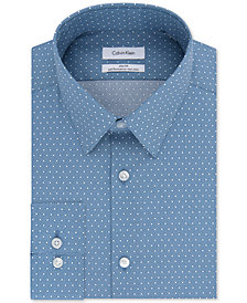 Calvin Klein Men's STEEL Slim-Fit Non-Iron Stretch Performance Blue Pattern Dress Shirt
