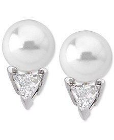 Majorica Sterling Silver Triangle Cubic Zirconia & Imitation Pearl Stud Earrings