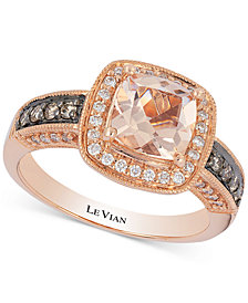 Le Vian® Peach Morganite™ (1 ct. t.w.) & Diamond (1/3 ct. t.w.) Ring in 14k Rose Gold