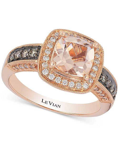 Le Vian Peach Morganite 1 Ct T W Diamond 1 3 Ct T W Ring
