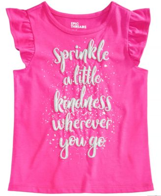 Little Girls Flutter-Sleeve Graphic-Print T-Shirt, Created for Macy's