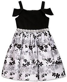 Sweet Heart Rose Little Girls Cold Shoulder Floral-Print Dress