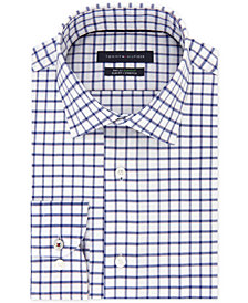 Tommy Hilfiger Men's Slim-Fit TH Flex Stretch Performance Navy Check Dress Shirt