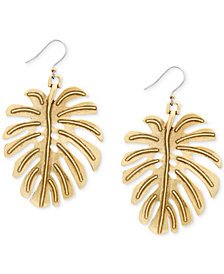 Lucky Brand Gold-Tone Leaf Drop Earrings