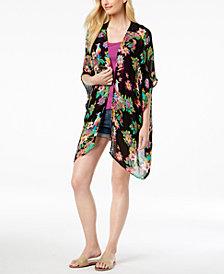 I.N.C. Tropical-Print Crochet Kimono & Cover-Up, Created for Macy's