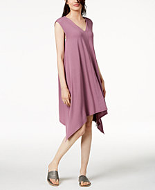 Eileen Fisher Stretch Jersey Handkerchief-Hem Dress