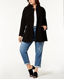 Eileen Fisher Plus Size Organic Textured Stand-Collar Jacket