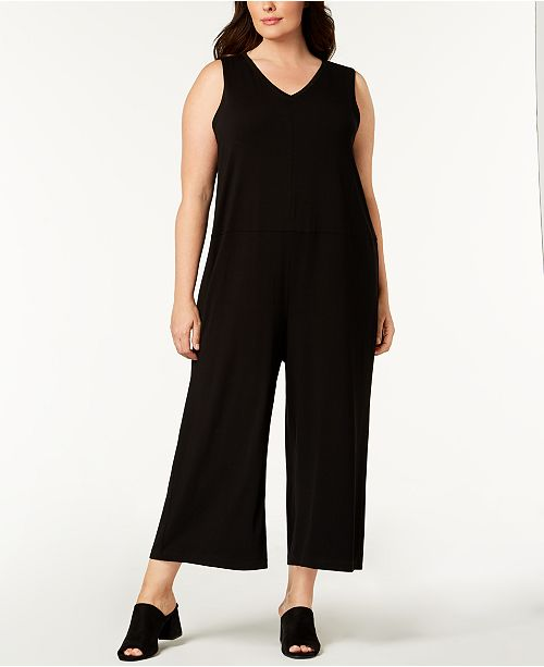 8026efe7d6 Eileen Fisher Plus Size Stretch Jersey Wide-Leg Jumpsuit   Reviews ...