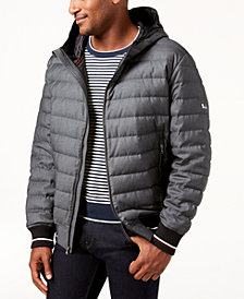 Michael Kors Men's Heathered Hooded Puffer Jacket