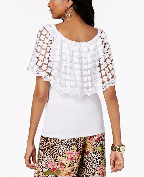 White Shoulder for The Created Crochet Sodi Thalia Popover Macy's Bright Top Off qw1BP8gX
