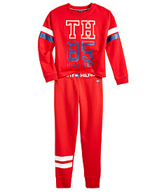 Tommy Hilfiger Big Girls Logo Sweatshirt & Football Stripe Sweatpants