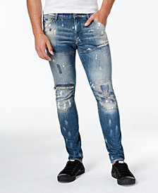 G-Star RAW Men's Slim-Fit Paint-Splatter Moto Jeans