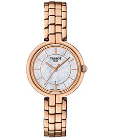 Women's Swiss Flamingo T-Lady Rose Gold-Tone 5N Stainless Steel Bracelet Watch 26mm