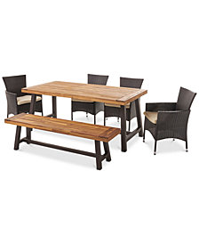 Westin 6-Pc. Outdoor Dining Set with Water-Resistant Cushions, Quick Ship