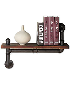 """24"""" Montana Industrial Pine Wood Floating Wall Shelf in Gray and Walnut Finish"""