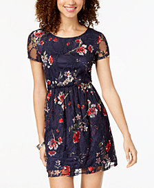 Speechless Juniors' Printed Lace Fit & Flare Dress