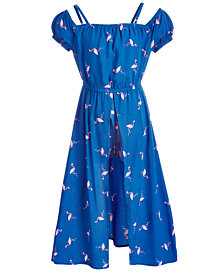 Epic Threads Little Girls Flamingo-Print Maxi-Overlay Romper, Created for Macy's