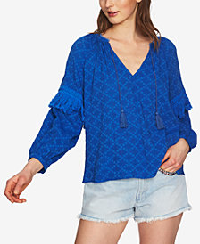 1.STATE Printed Fringe-Trim Top