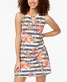 BCX Juniors' Floral Striped Keyhole Dress