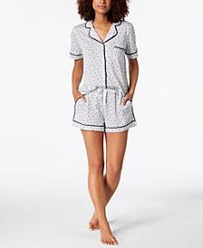 DKNY Logo Contrast-Piping Knit Boxer Pajama Set
