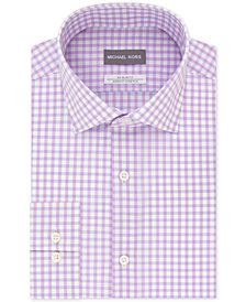Michael Kors Men's Slim-Fit Non-Iron Airsoft Stretch Performance Purple Check Dress Shirt