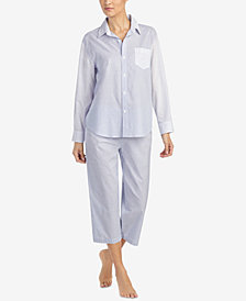 Lauren Ralph Lauren Mixed-Stripe Capri Pajama Set
