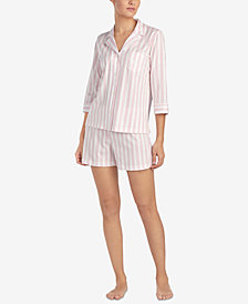 Lauren Ralph Lauren Cotton Striped Classic Knits Pajama Shorts Set