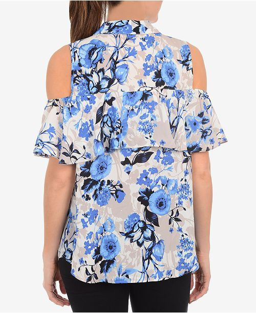 Collection Printed Blue Blouse Cold Front NY Button Twinstem Shoulder dvp5O1dwxq