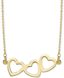 "Triple Heart Pendant Necklace, 16"" + 2"" extender in 14k white or yellow gold."
