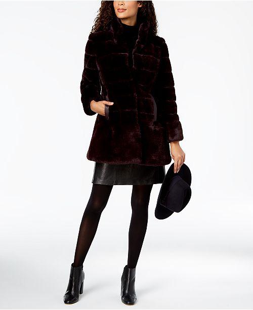 8a269939c0c Jones New York Stand-Collar Faux-Fur Coat   Reviews - Coats - Women ...
