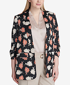 Calvin Klein Plus Size Floral-Print Ruched-Sleeve Jacket