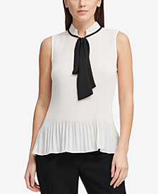 DKNY Pleated Tie-Neck Top, Created for Macy's