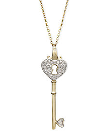 Diamond Heart Lock Key Pendant Necklace in 18k Gold over Sterling Silver(1/10 ct. t.w.)