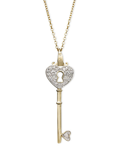 Diamond heart lock key pendant necklace in 18k gold over sterling diamond heart lock key pendant necklace in 18k gold over sterling silver110 mozeypictures Images