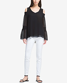 DKNY Cold-Shoulder V-Neck Top