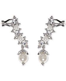 Marchesa Swarovski & Imitation Pearl Ear Climber Earrings