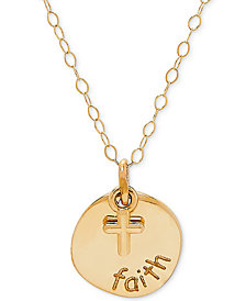 "Faith & Cross 17"" Pendant Necklace in 10k Gold"