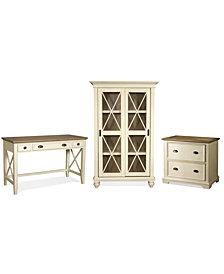 Brompton II Home Office, 3-Pc. Furniture Set (Writing Desk, File Cabinet & Sliding Door Bookcase)