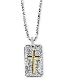 "EFFY® Men's White Sapphire Cross Dog Tag 22"" Pendant Necklace (1-3/8 ct. t.w.) in Sterling Silver & 18k Gold"
