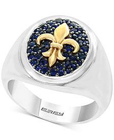 EFFY® Men's Blue Sapphire Fleur-de-Lis Ring (3/4 ct. t.w.) in Sterling Silver & 18k Gold