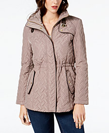 Cole Haan Signature Quilted Faux-Leather-Trim Anorak Coat