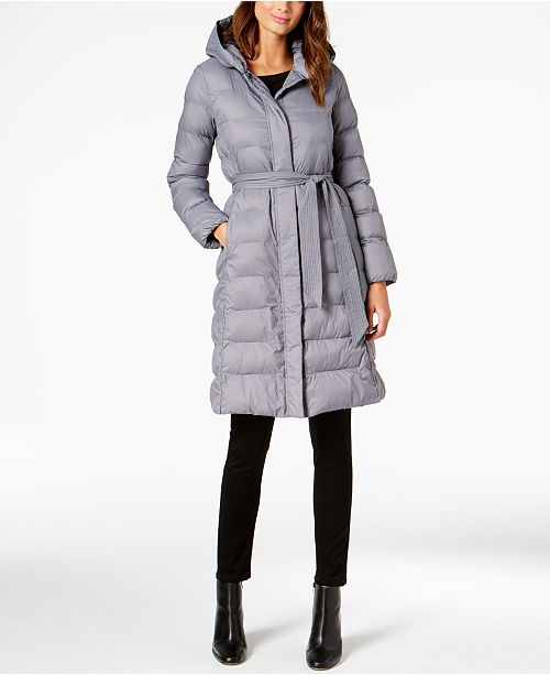 Signature Hooded Belted Lightweight Down Coat