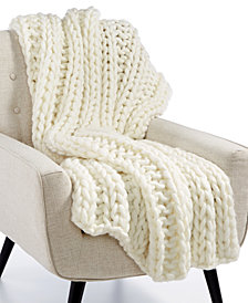 "Lacourte Luxury Heathered Chunky-Knit 50"" x 60"" Throw, Created for Macy's"