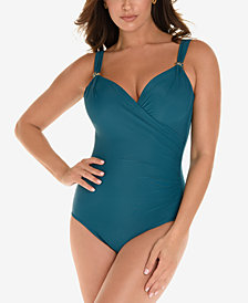 Miraclesuit Razzle Dazzle Siren Twist-Front Underwire Allover Slimming One-Piece Swimsuit