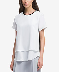 DKNY Layered-Look Colorblocked Top