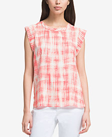 DKNY Printed Flutter-Sleeve Top