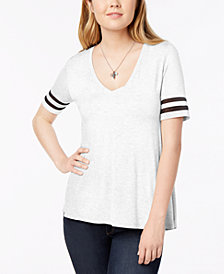 Bar III Short Sleeve Illusion Varsity Tee, Created for Macy's