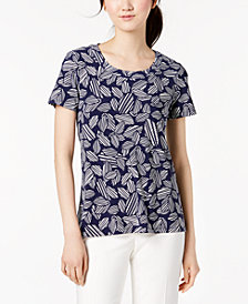 Anne Klein Printed High-Low Top